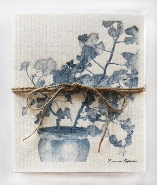Gift 2-piece organic dishcloth blue geranium