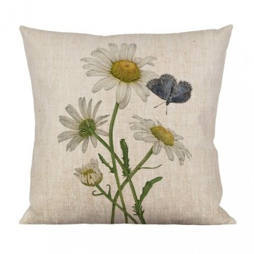 Chusion daisies/butterfly  Material 100% linen Size 47x47 cm
