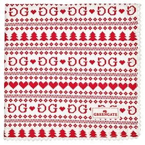 December red bread basket napkin