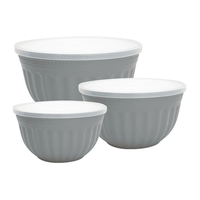 Alice melamine bowl grey s/3 med lokk