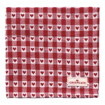 Bread basket napkin heart petit red