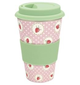 Travel mug bamboo strawberry pale pink
